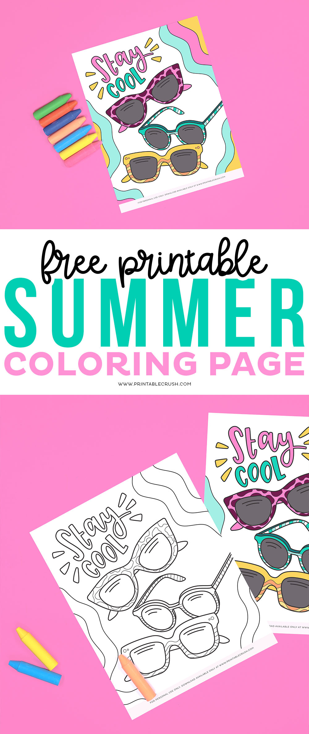 Free Sunglasses Coloring Page - Summer Coloring Page - Coloring Page for Summer - Printable Crush