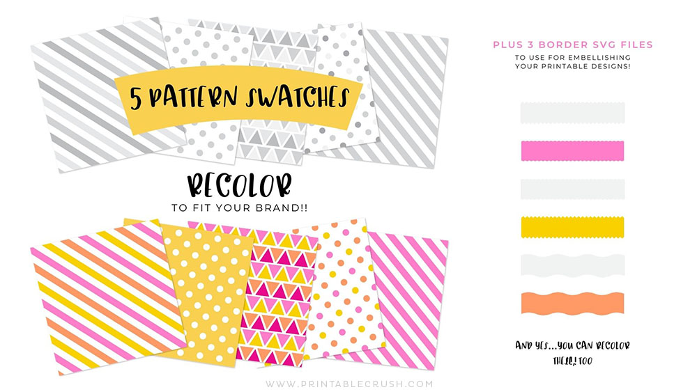 Pattern Swatches you can recolor in Adobe Illustrator - Bonus SVG Files