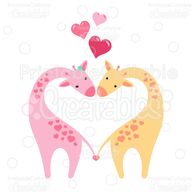 Download Giraffes in Love Clipart and SVG Cut Files