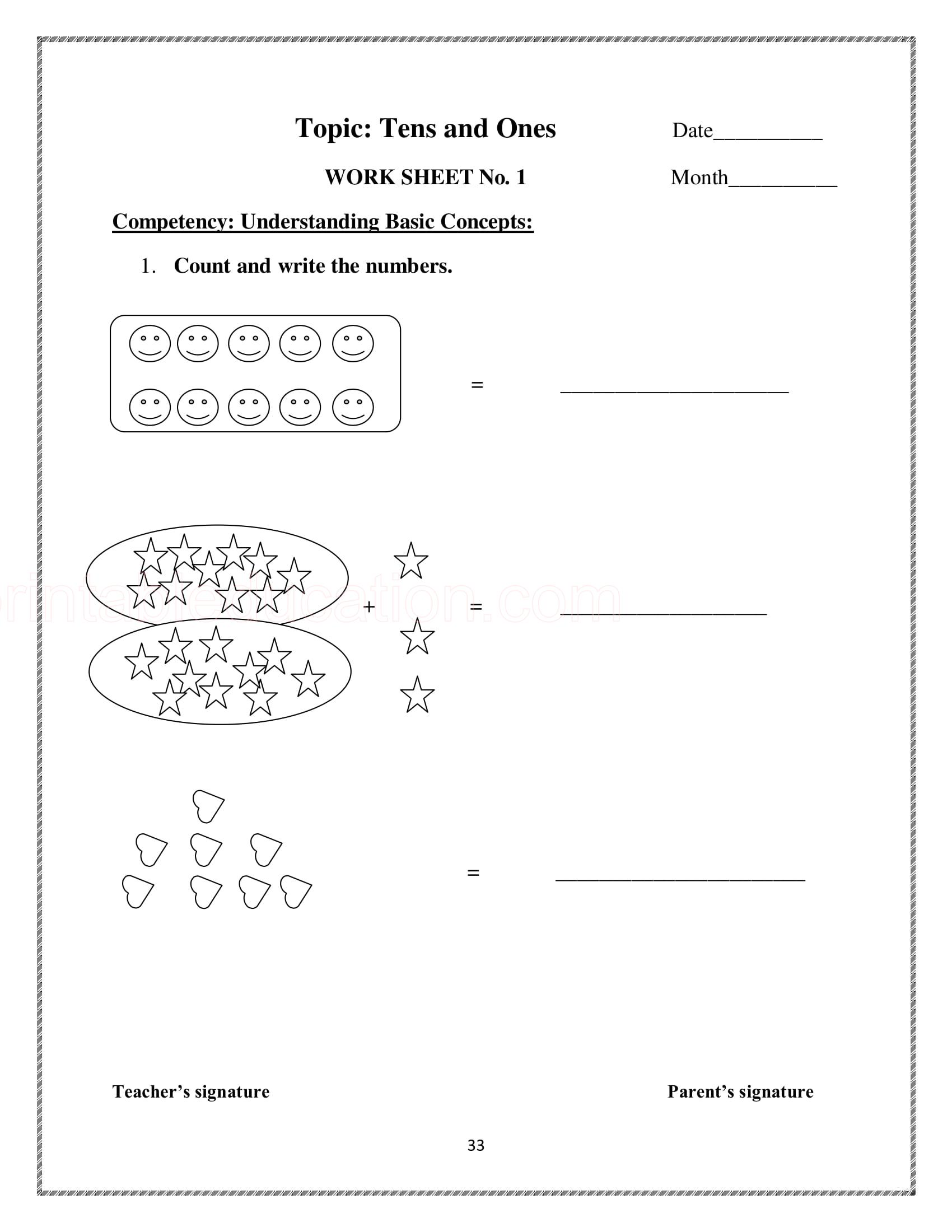 25 Math Counting Numbers Worksheets