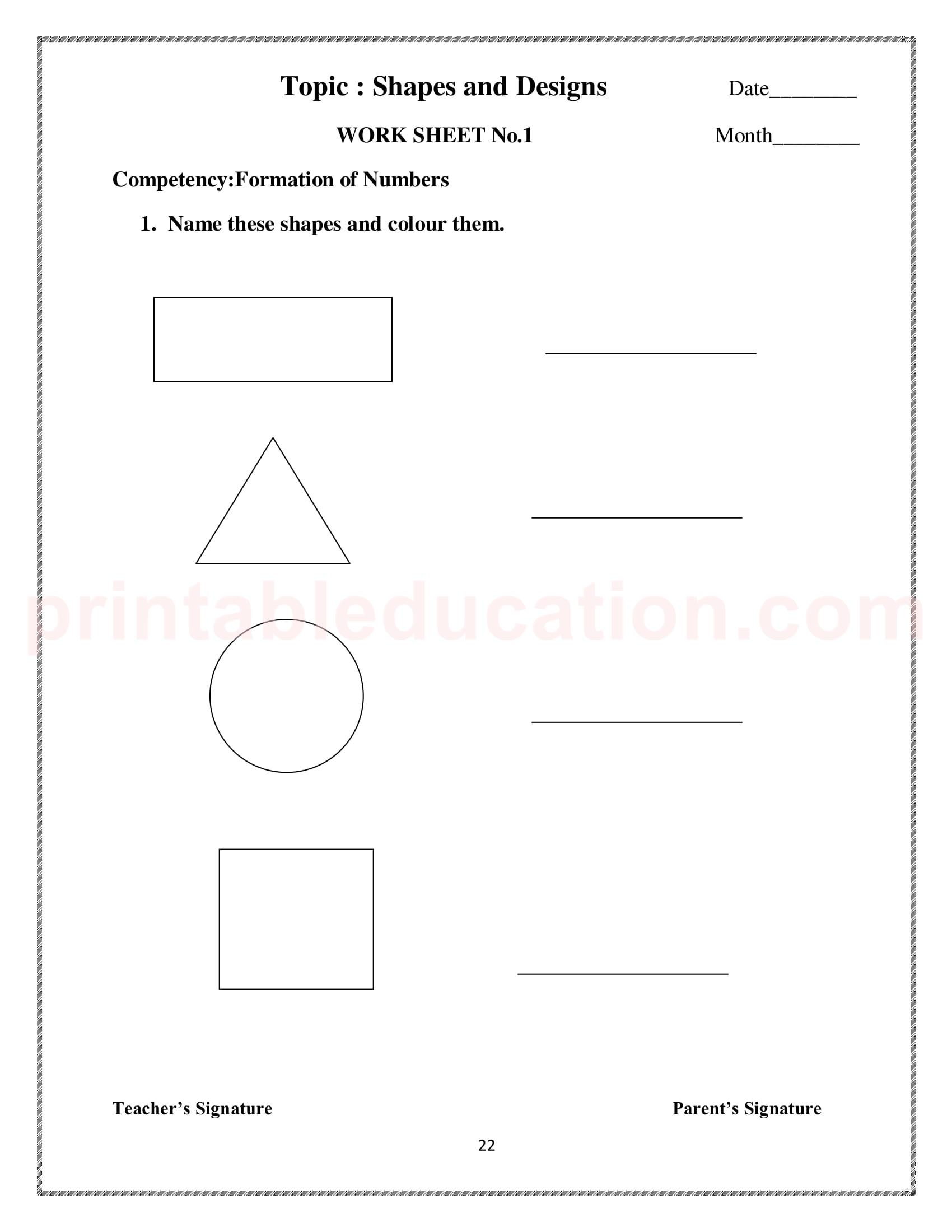 Basic Math Shapes Worksheets For Kids