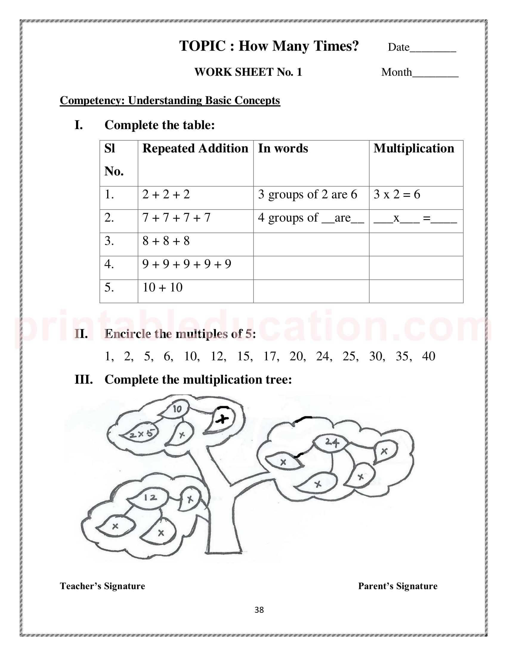 Mathematics Worksheets For Class 3 Kids