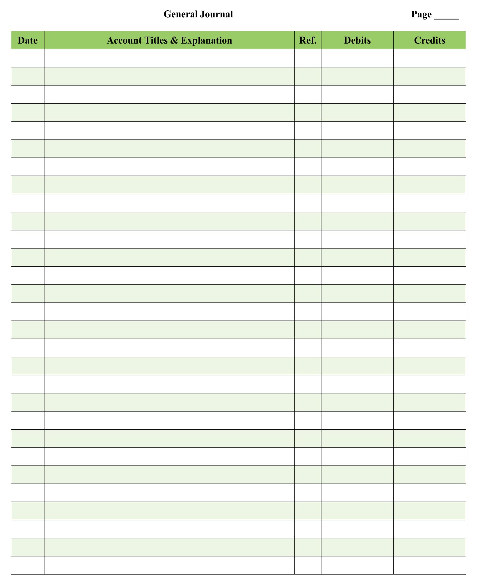 7 Best Printable Blank Ledger Sheet