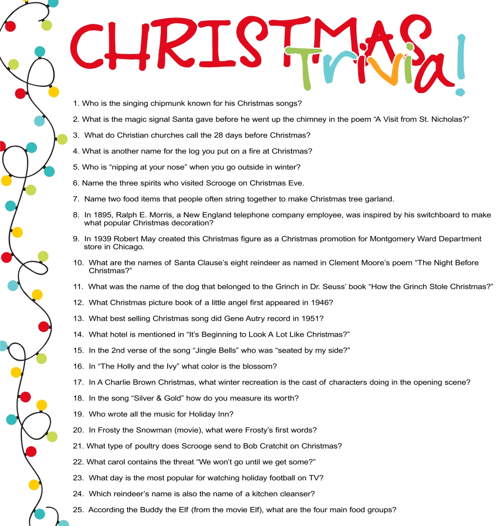 6 Best Printable Christmas Trivia Questions