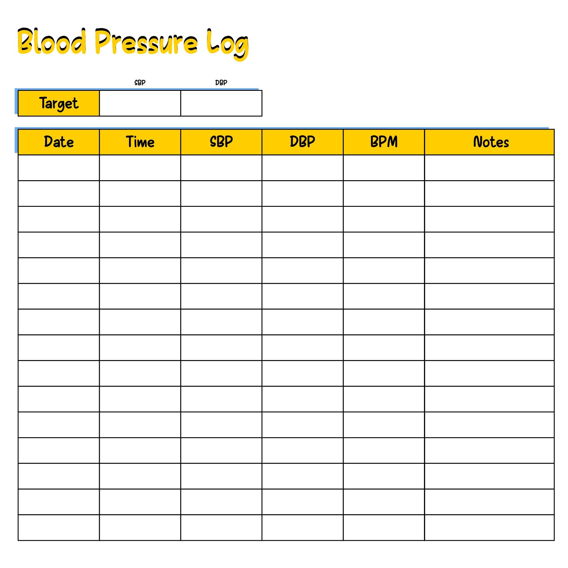 8 Best Sugar Blood Pressure Log Printable