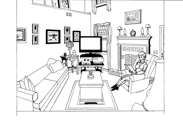 Drawing Living room #26 (Buildings and Architecture