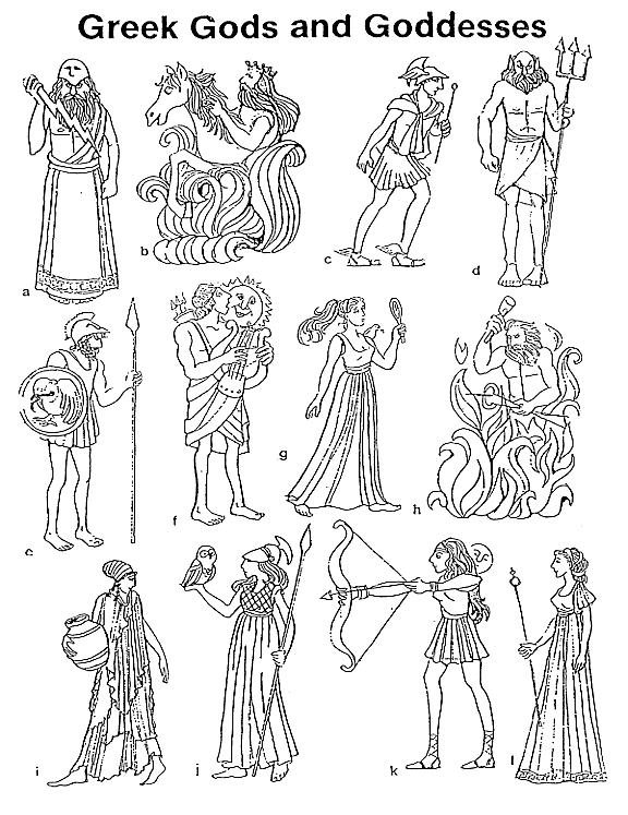 Greek Mythology Gods And Goddesses Printable Coloring Pages
