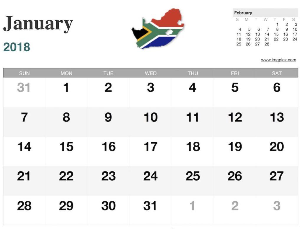 Printable Calendar South Africa