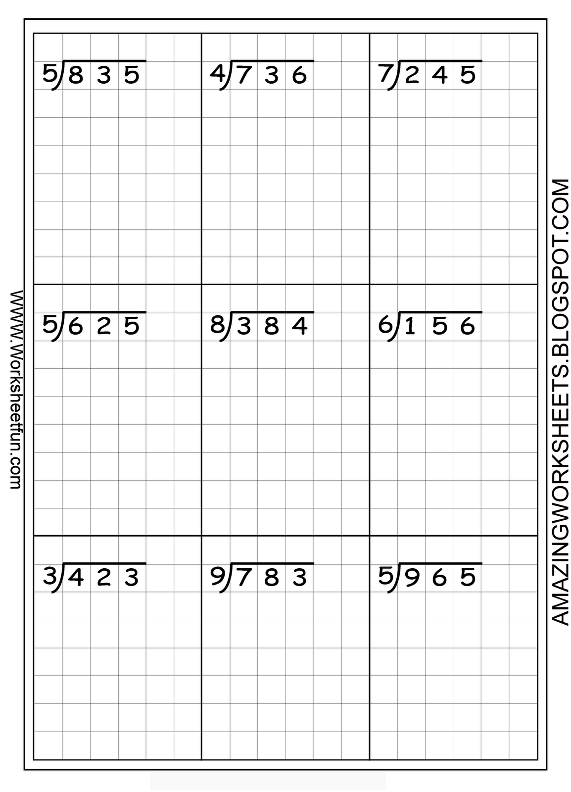 Printable Long Division On Graph Paper