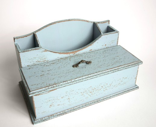 Robins Egg Blue Wooden Desk Organizer
