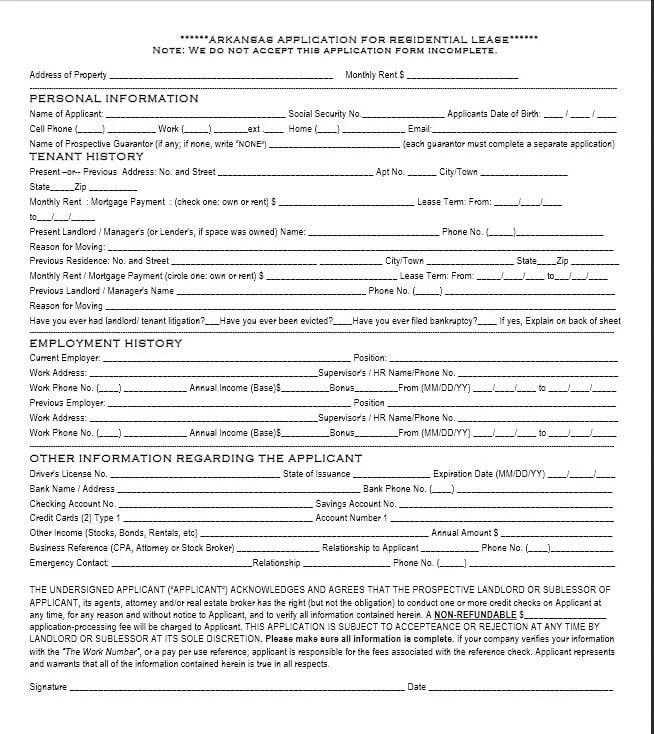 Download Free Arkansas Rental Application Template Printable Lease Agreement