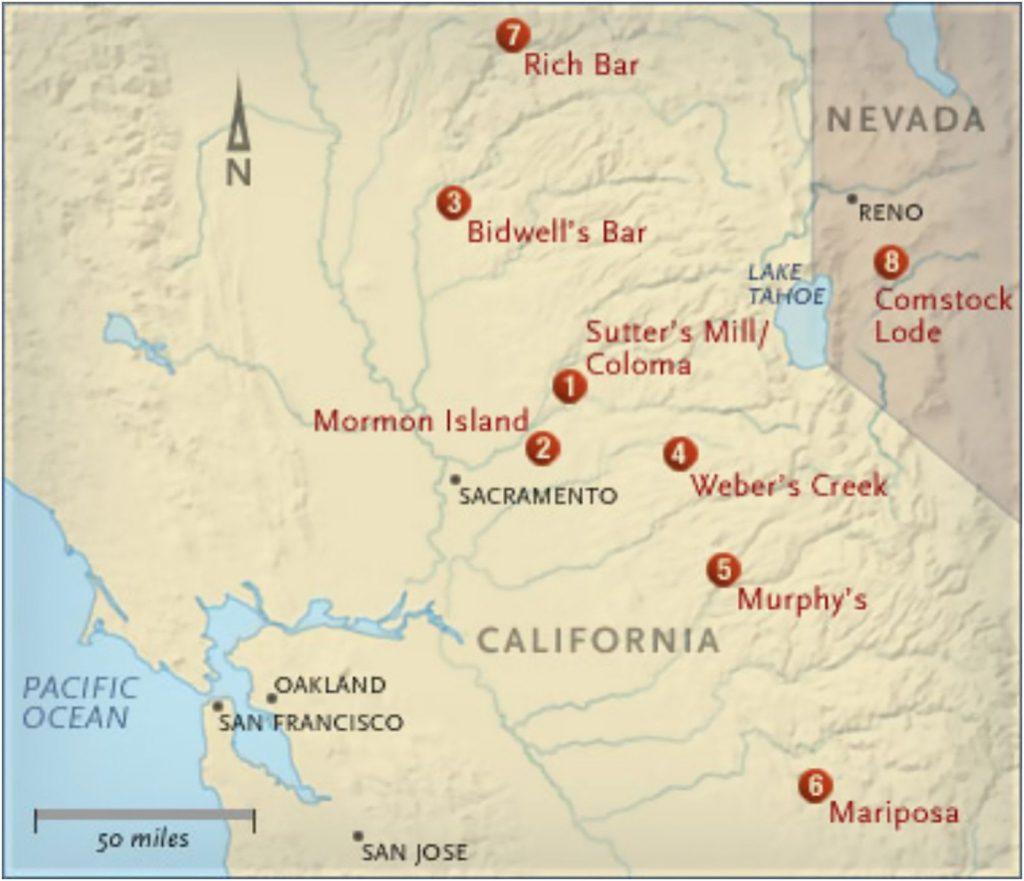 Major Strikes In The California Gold Rush