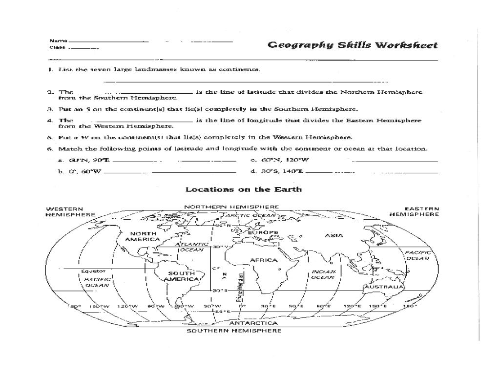 6th Grade Map Skills Worksheets Printable