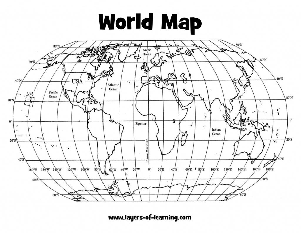 Printable World Map With Latitude And Longitude
