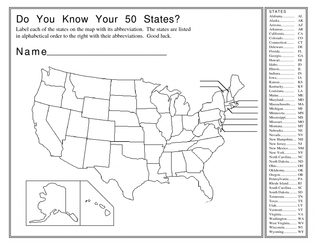 States And Capitals Map Quiz Printable