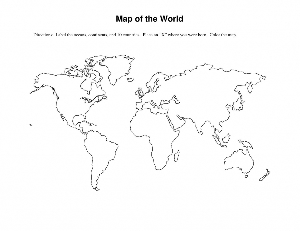 Free Printable World Map Worksheets