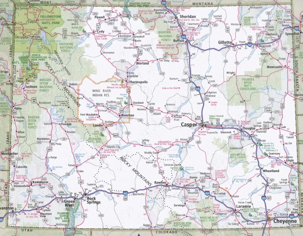 Large Detailed Tourist Map Of Wyoming With Cities And