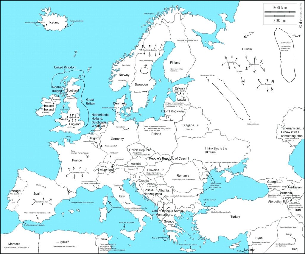 Printable Map Of Europe Labeled