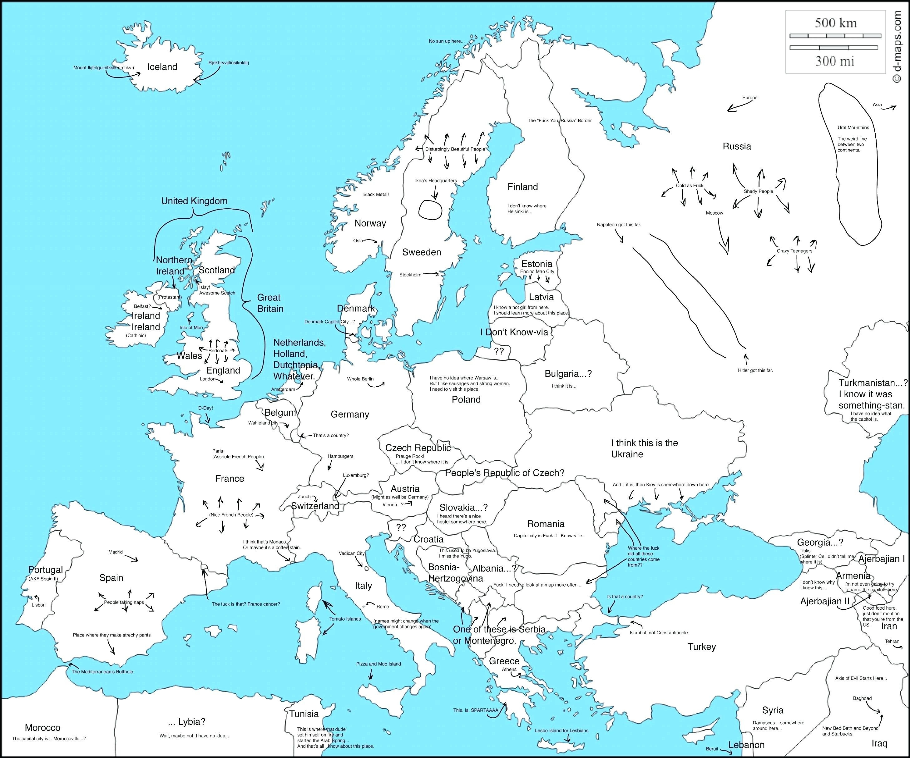 Outline Map Of Europe Political With Free Printable Maps