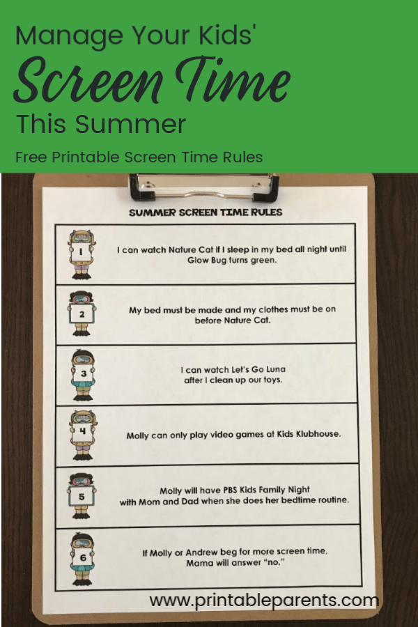 photograph regarding Screen Time Rules Printable referred to as How In the direction of Afford to pay for Display screen Period this Summer months - free of charge printable