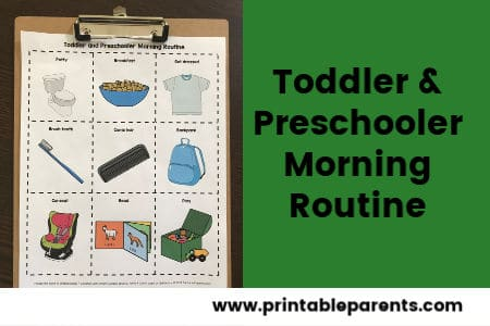 toddler-preschooler-morning-routine-cards-on-brown-clipboard-green-background-black-text-featured-image