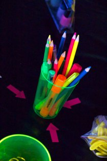 This is an image of neon art supplies.