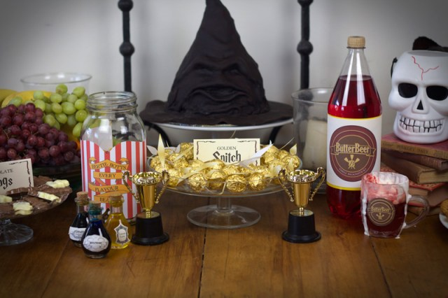 This is an image of the Harry Potter inspired party table.
