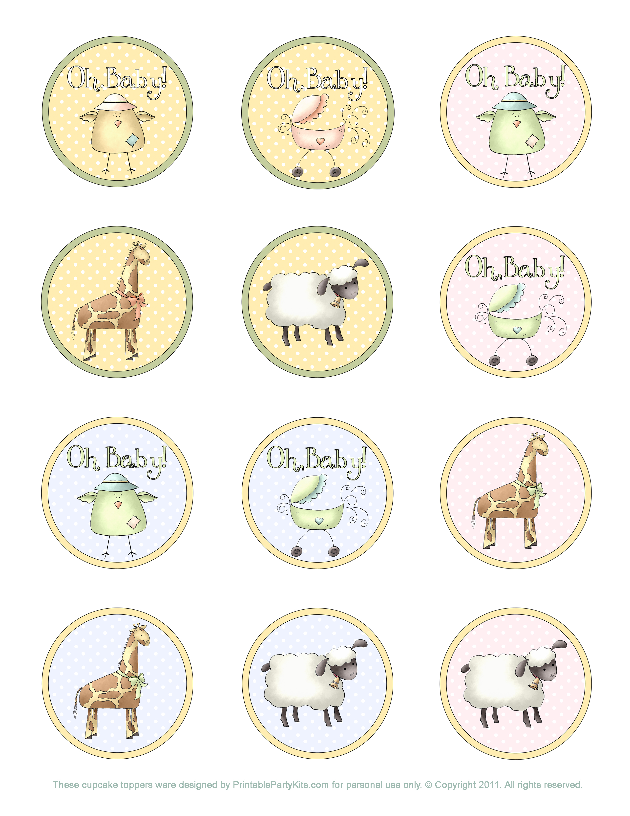 Baby Shower Cupcake Topper Template