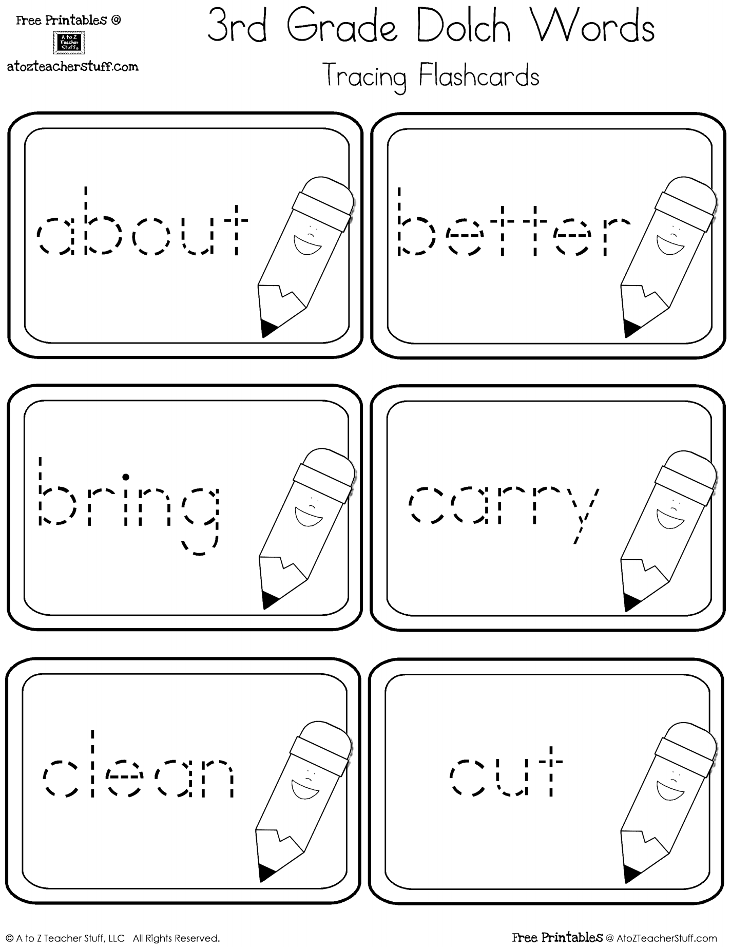 Third Grade Dolch Sight Words Tracing Flashcards