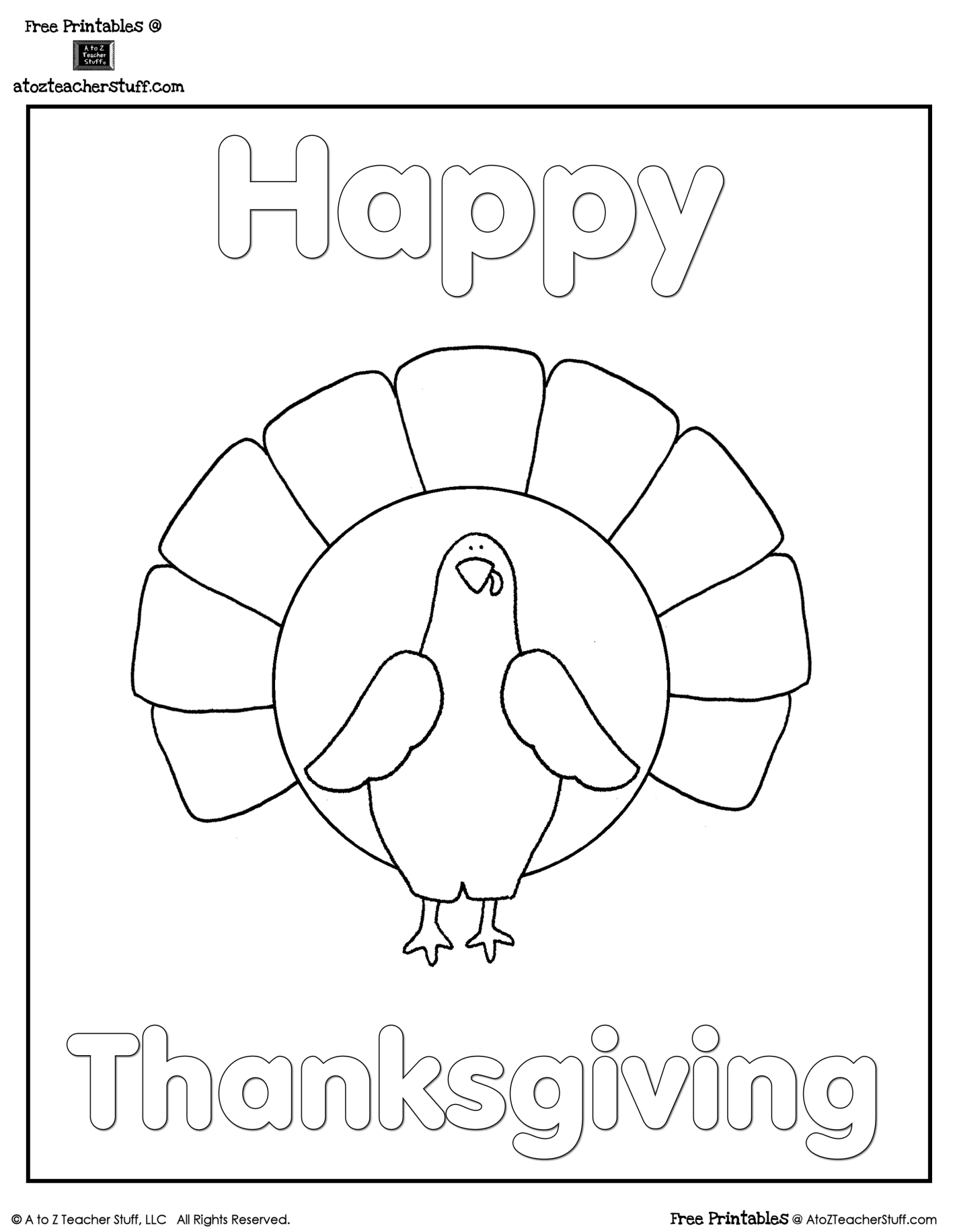 Tom Turkey Activity Worksheet