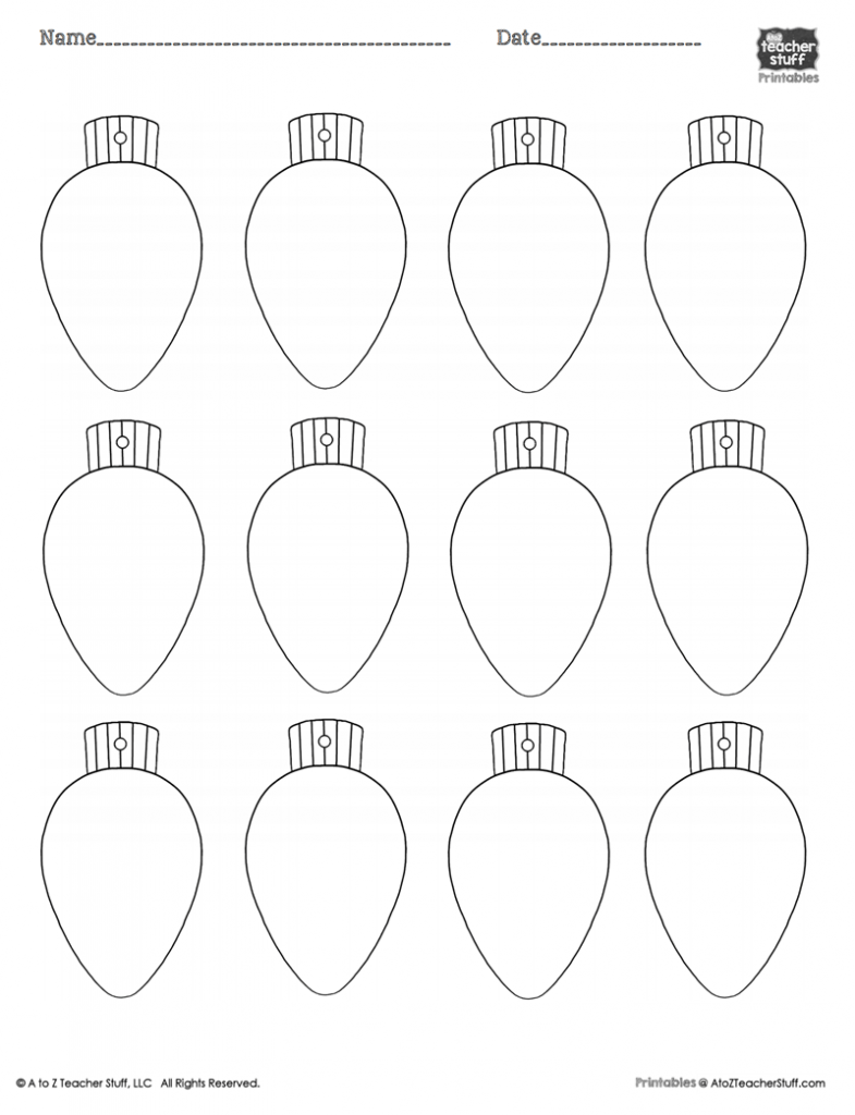 Christmas Tree Light Bulb Template
