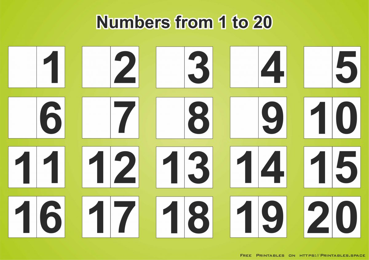 Free Download Printable Page With Numbers 1 20