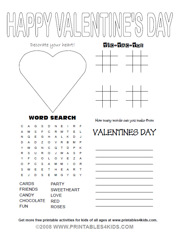 Valentines Day Party Activity Sheet Printables For Kids