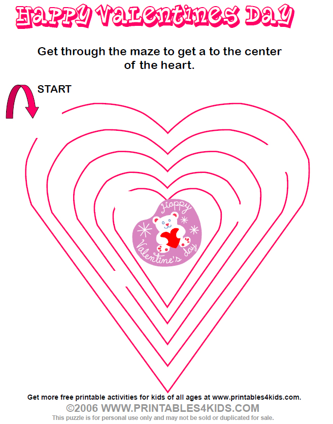 Preschool Maze Printable Heart