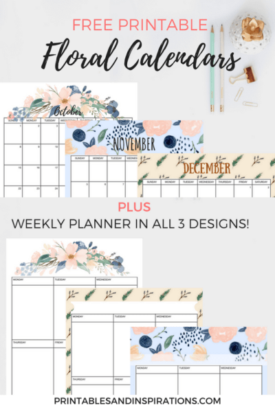 Free Floral Calendar For The Rest Of 2017 Printables And Inspirations