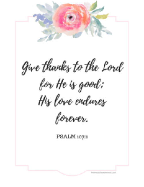 Gratitude journal, thankful printables, planner stickers, attitude of gratitude, Bible verse, Psalm 107