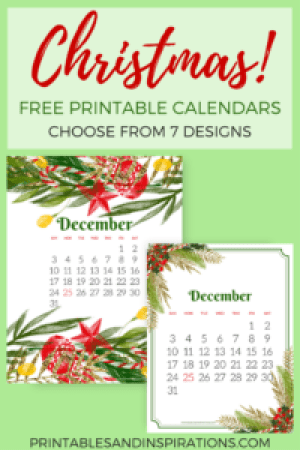 free Christmas calendars, free printable December calendar, Christmas decor