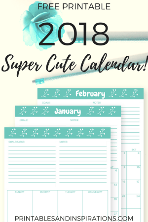 2018 cute calendar free printable, monthly planner, weekly spread, cyan