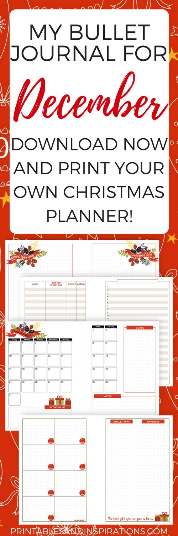 Calendar Planner Journal : December bullet journal and christmas planner free