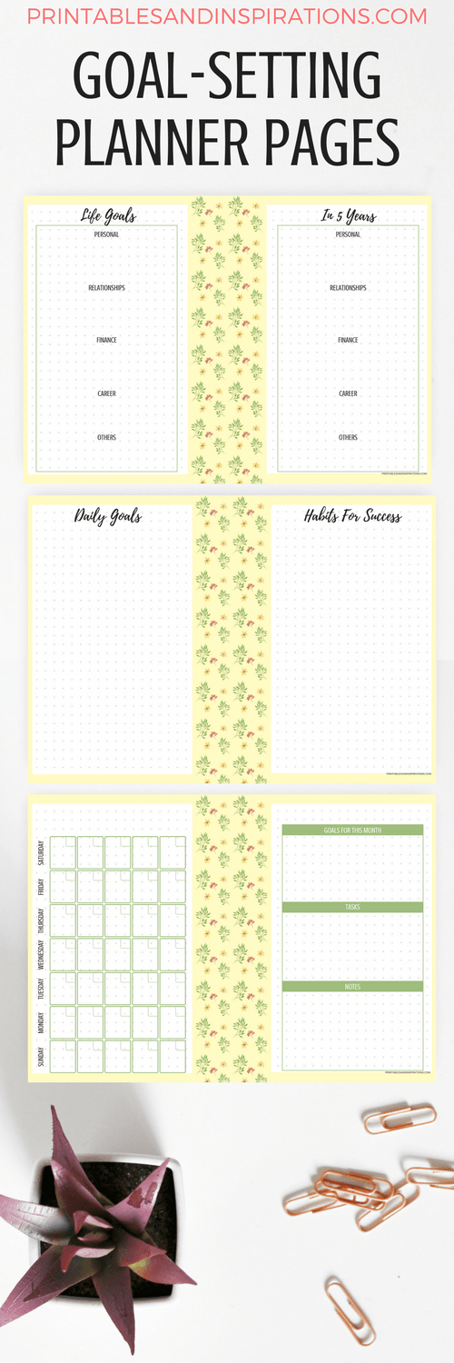 goal setting pages, goal setting worksheets, success planner, 2018 calendar, free printables