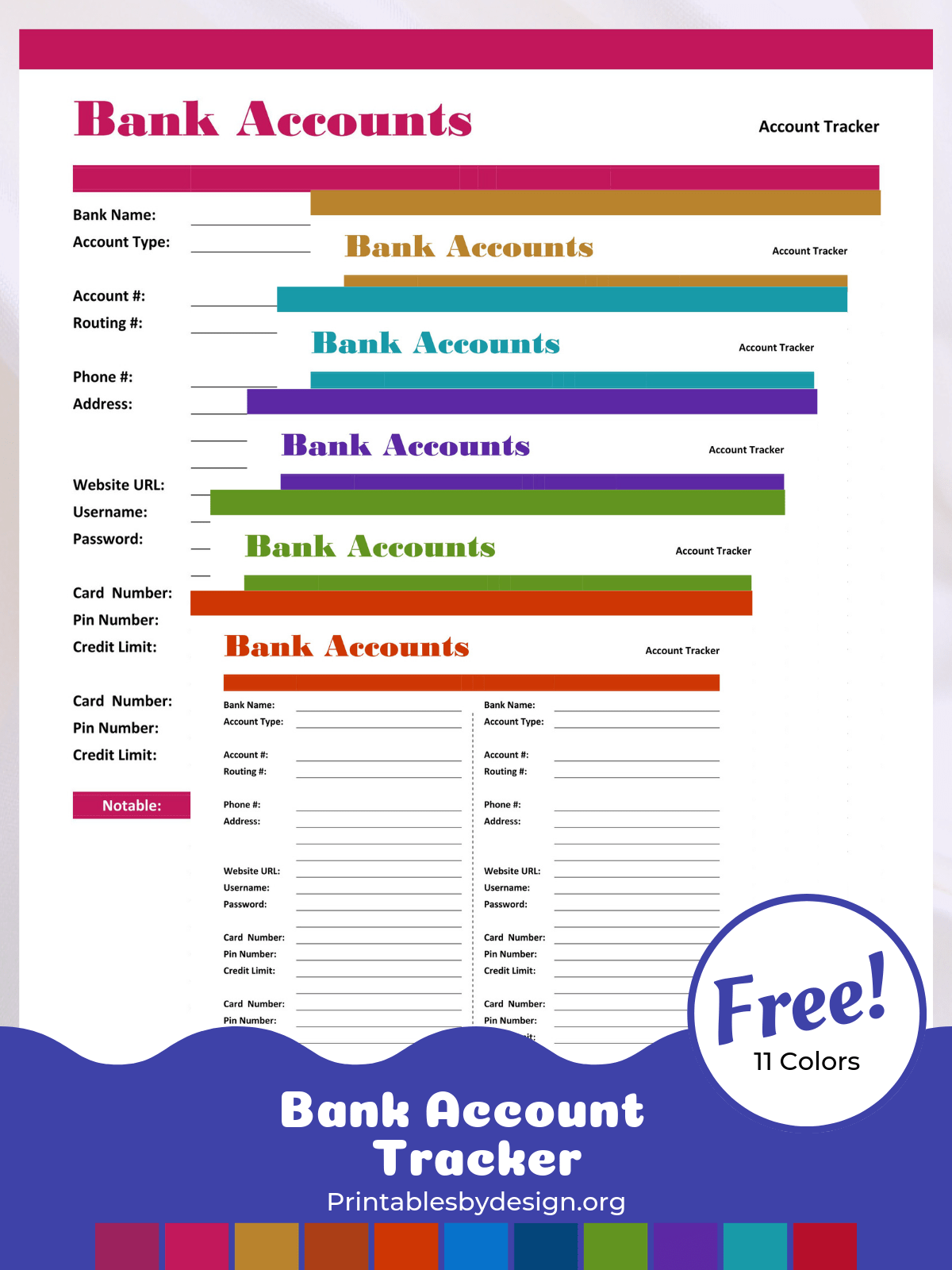 Bank Account Tracker Printables By Design