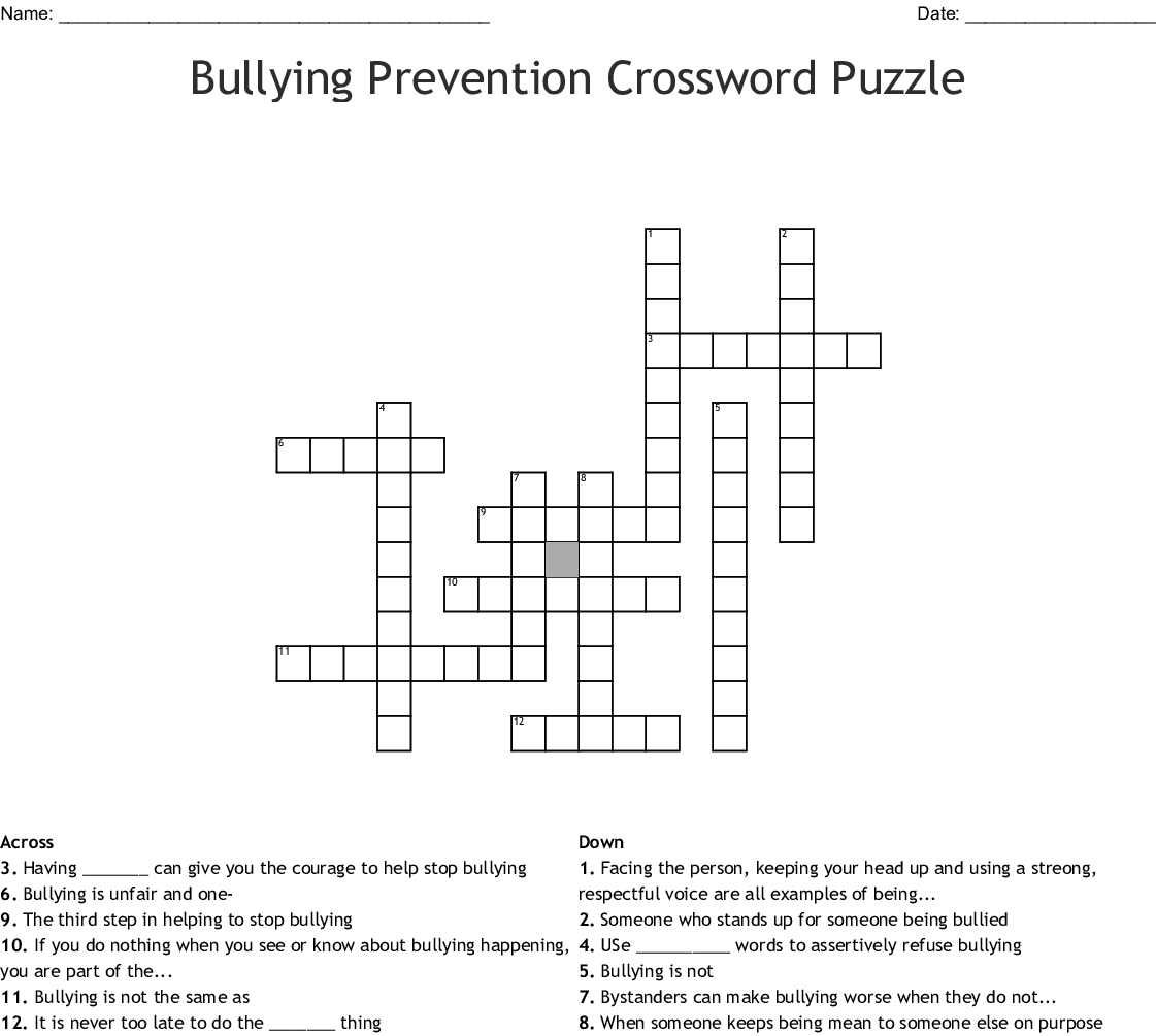 Bullying Crossword Puzzle Printable