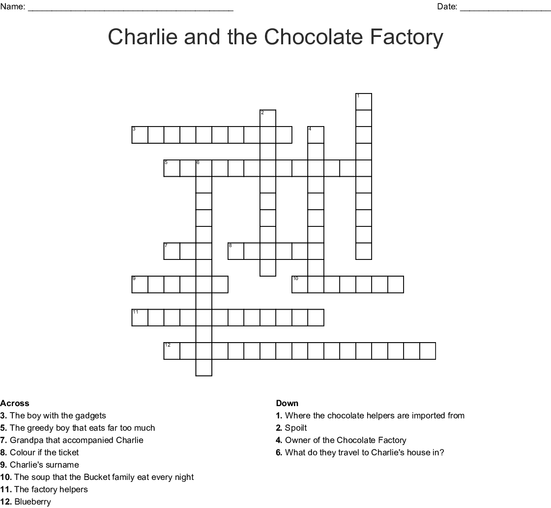 Charlie And The Chocolate Factory Printable Crossword
