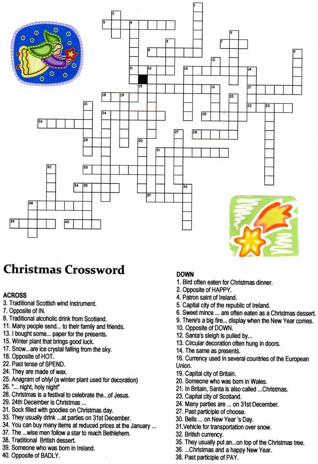 Christmas Crossword Puzzle Printable Middle School