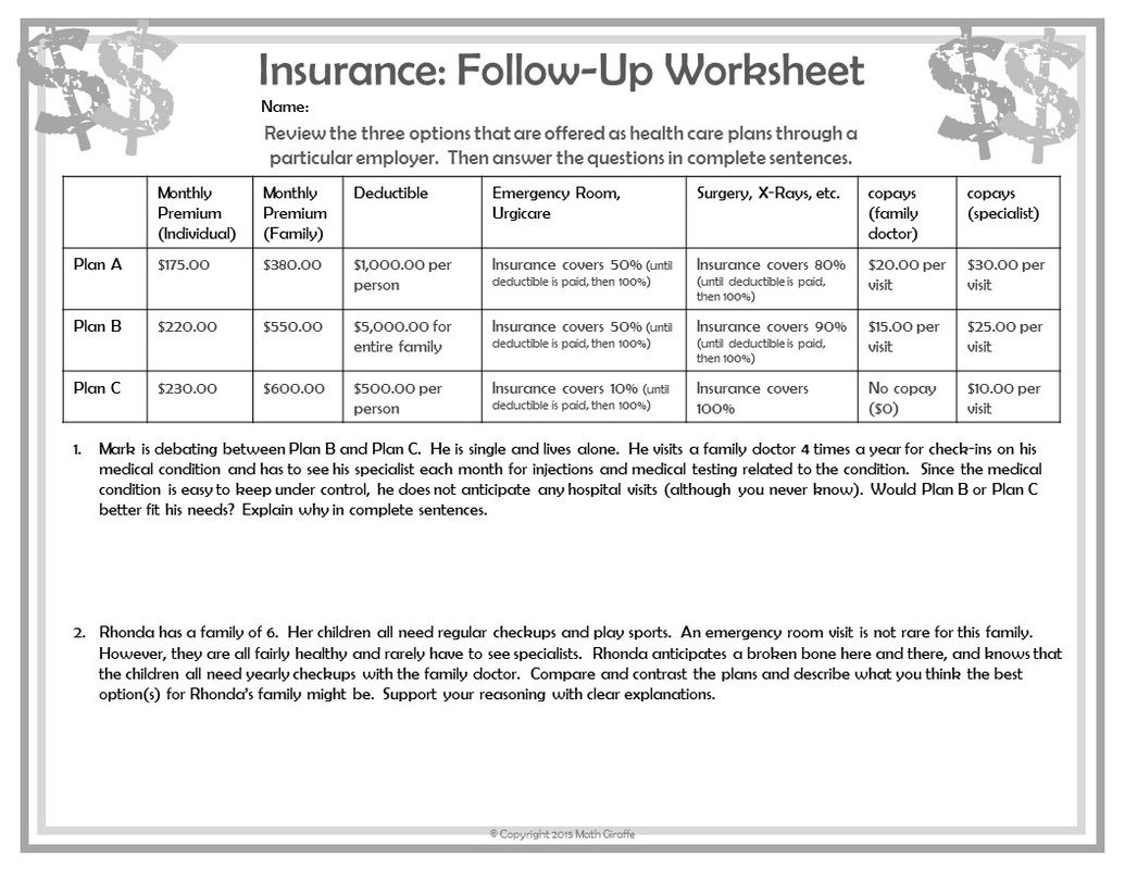 Free Printable Consumer Math Worksheets For High School
