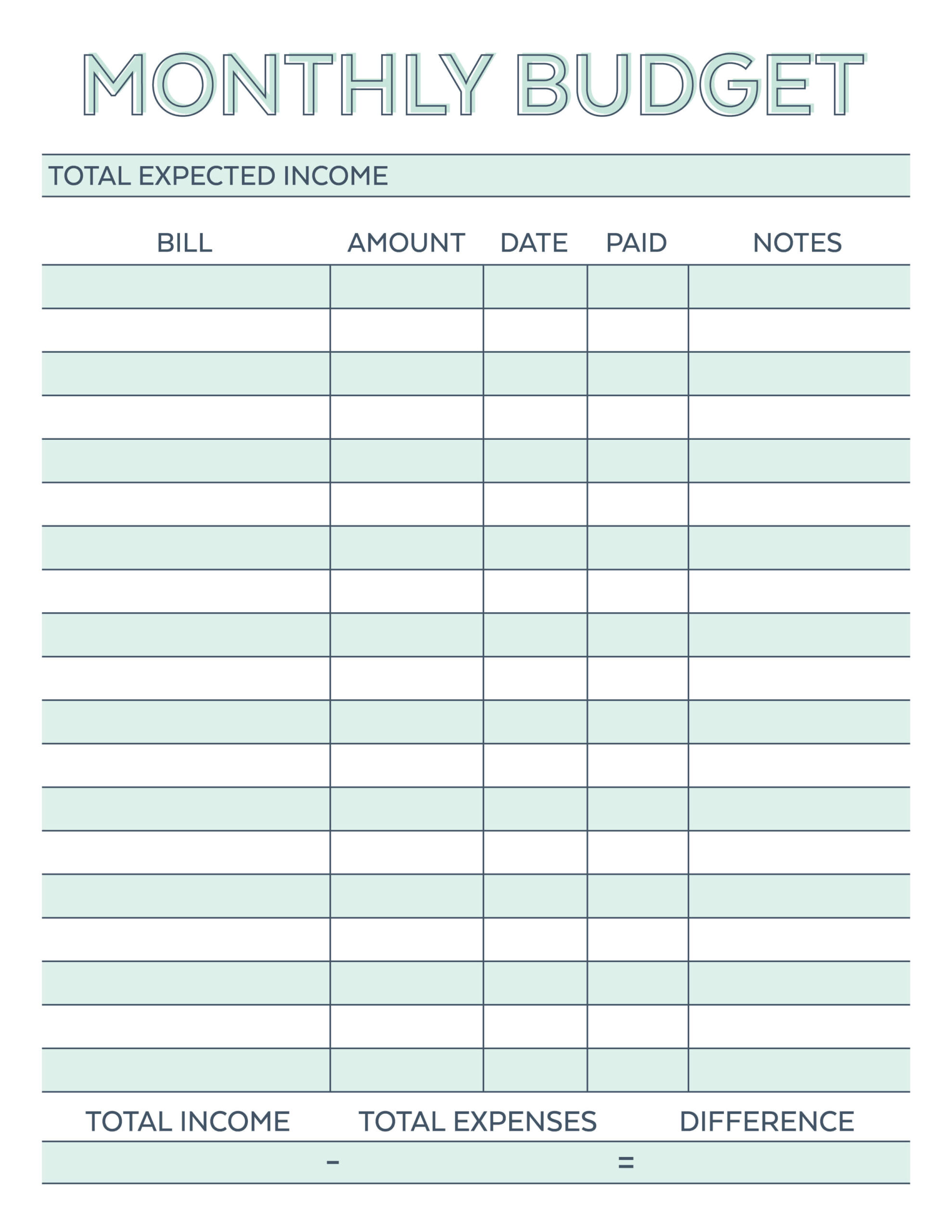 Beginner Printable Budget Worksheet