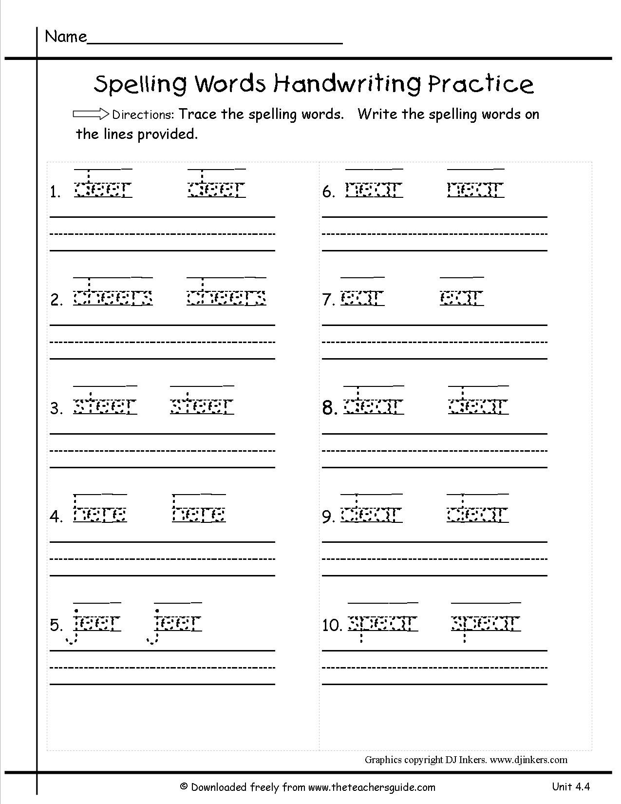 Free Printable 1st Grade Spelling Worksheets