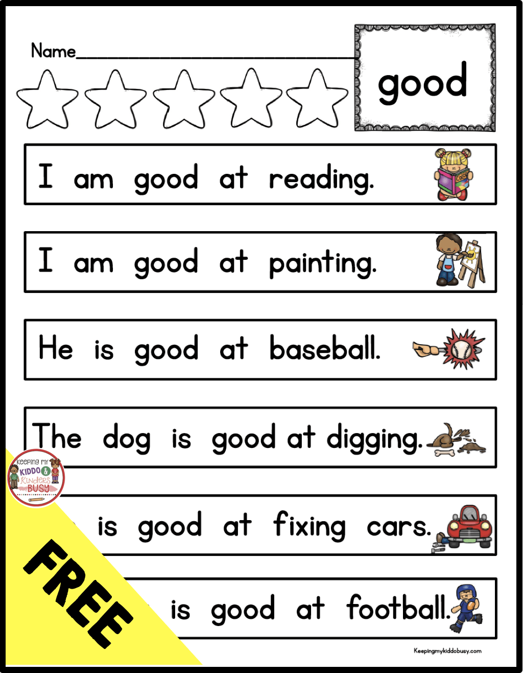 Free Printable Sight Word Sentences Worksheets For