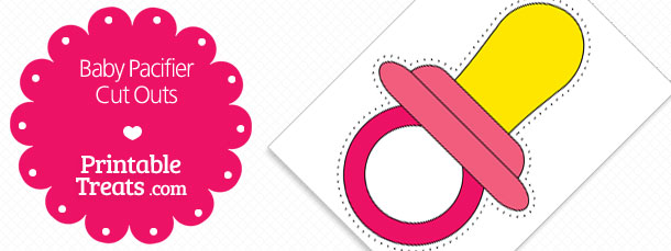 Printable Pink Baby Pacifier Cut Outs Printable