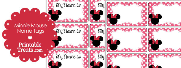 Free Pink Minnie Mouse Name Tags